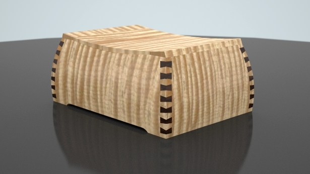 3D computer model of a sealed tiger maple urn