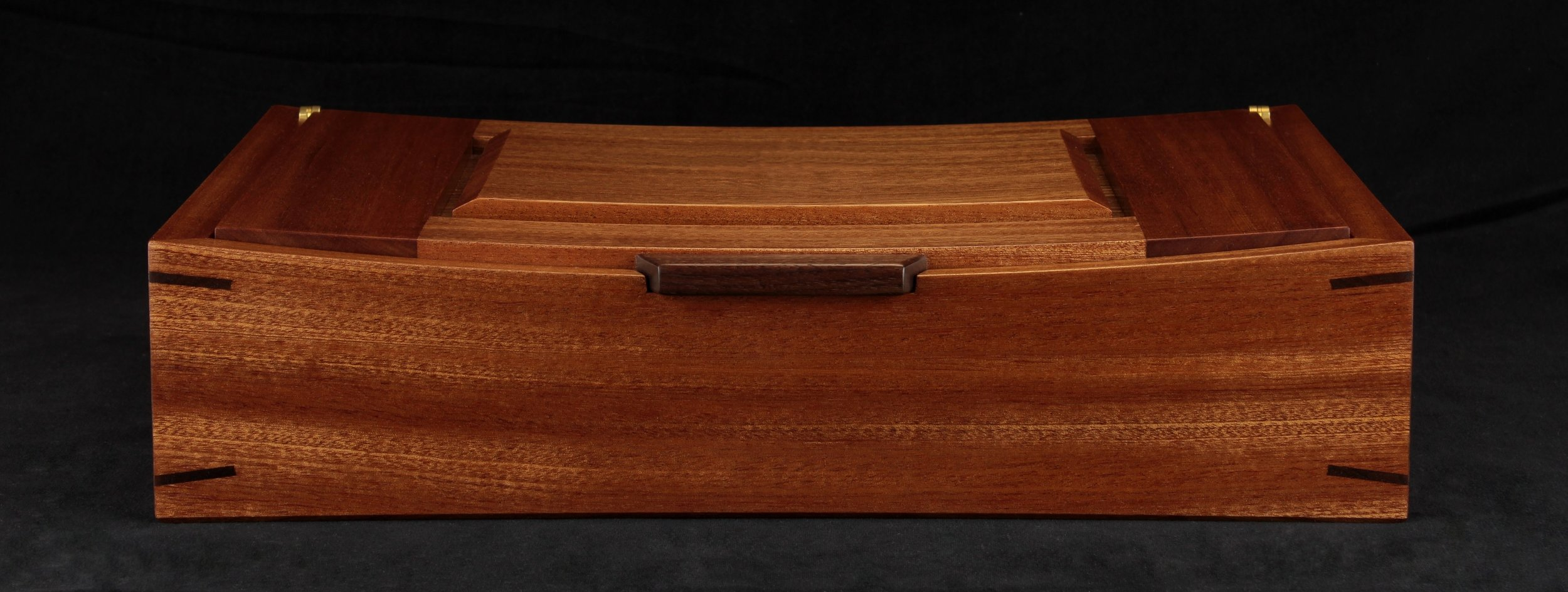 The actual sapele and walnut box completed