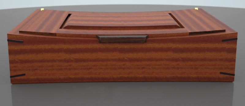 3D computer model of a sapele & walnut wooden box