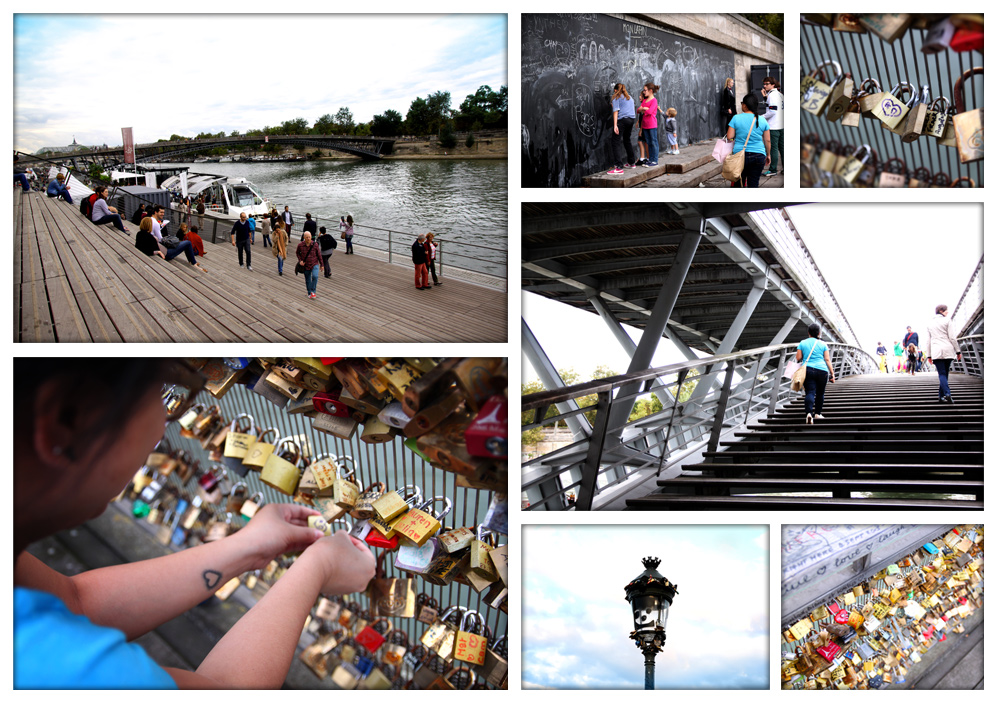 Along the Seine River, and through one of the lock bridges