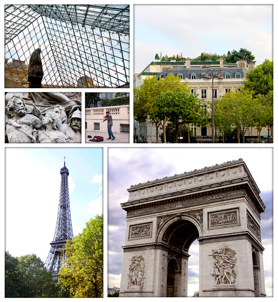 (clockwise from top left) descending the pyramid at the Louvre, rooftop garden near Avenue des Champs-Élysées, Arc de Triomphe, Eiffel Tower, detail of the relief on the Arc, and a street performer outside the Musée d'Orsay