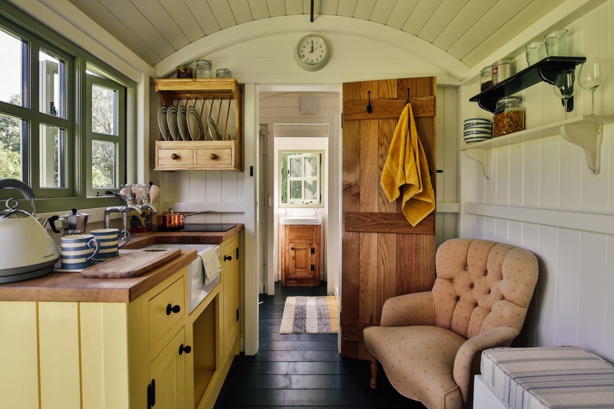 Interior photography of shepherds hut guest room kitchen area