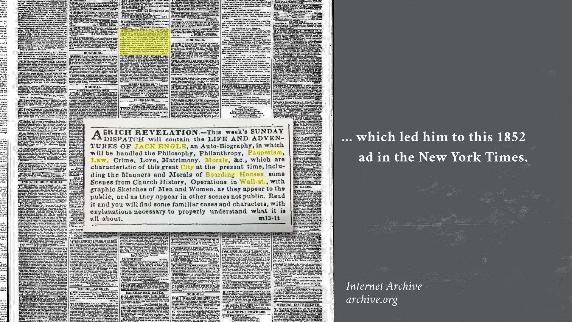 """Video still featuring the New York Times ad that announced """"The Life and Adventures of Jack Engle"""" which Turpin reconciled with keywords and phrases from Whitman's notes."""