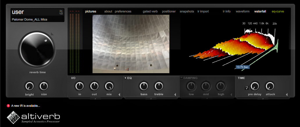Here's a screenshot of the Palomar Observatory reverb I created in Altiverb.