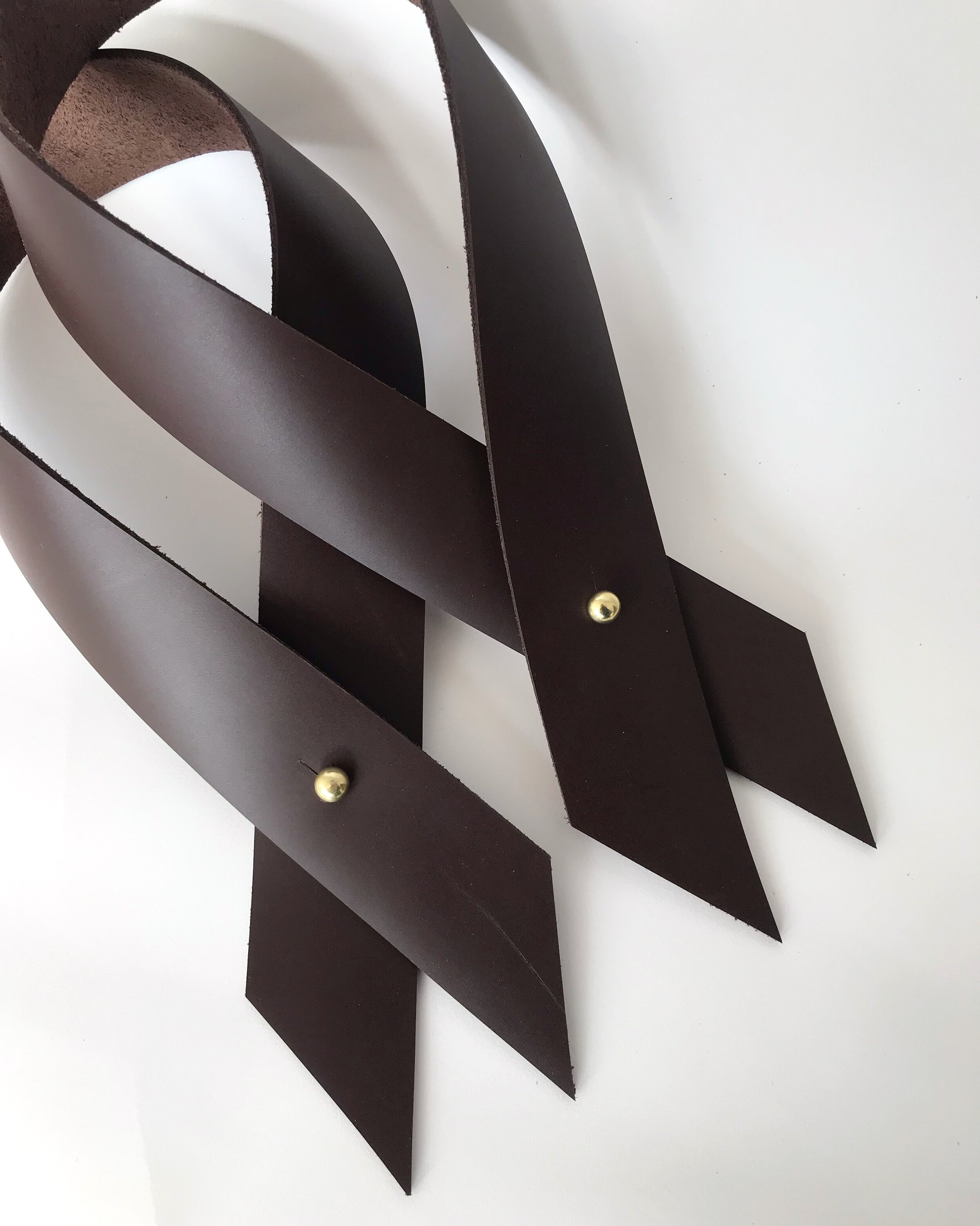 Chocolate Brown recycled leather drape ties are here… -