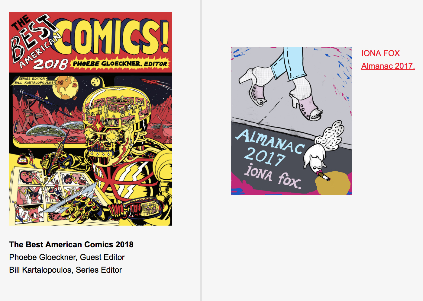 Best American Comics 2018 Notable Comics List: Almanac 2017 by Iona Fox