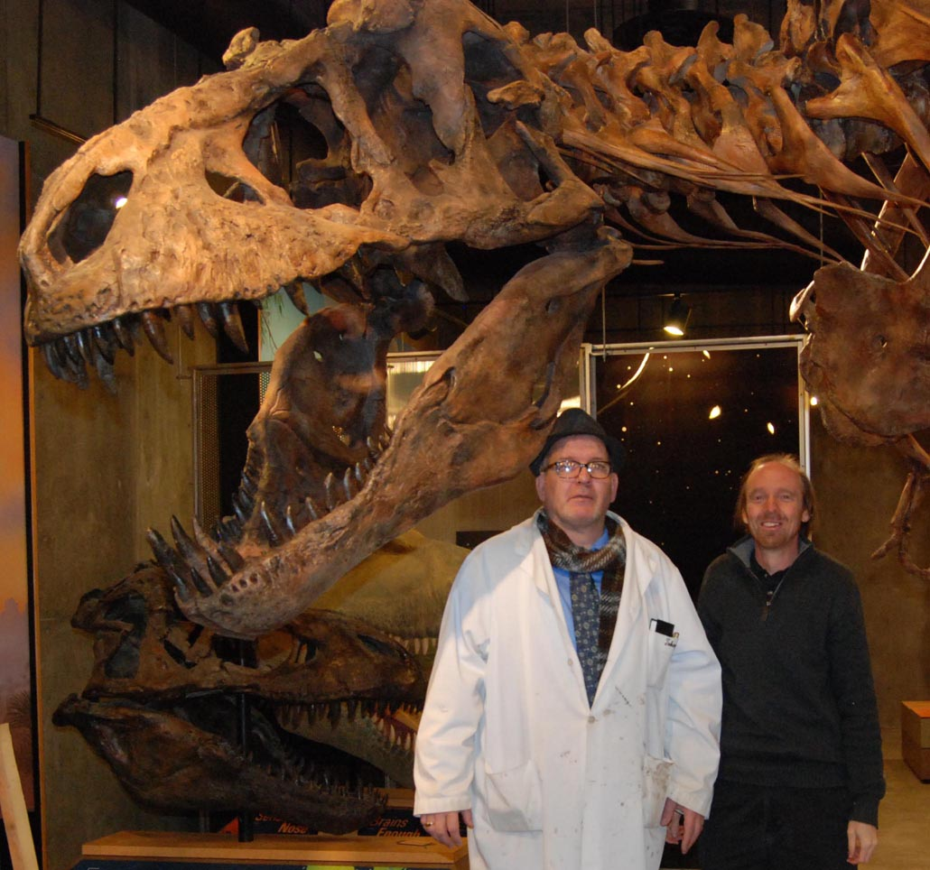Scotty the  Tyrannosaurus rex  (RSM 2523.8) with Tim (left) and Eric (right), the humans obviously too small to notice.