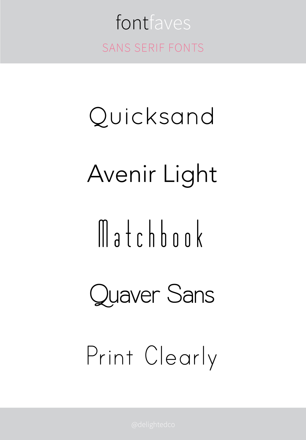 Font Faves: Sans Serif | DelightedCo