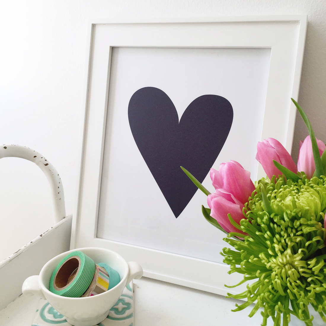 Free: Navy Heart Printable 8.5x11-inches • by Amanda Gomes of Delighted Creative Co