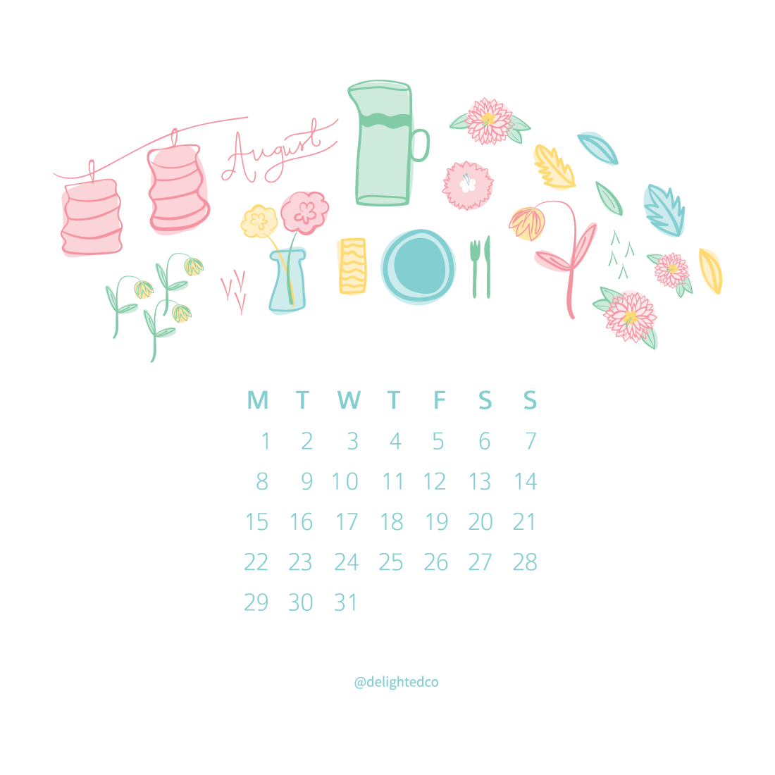 August Calendar Freebie by Amanda Gomes of Delighted Creative Co.  • delightedco.com
