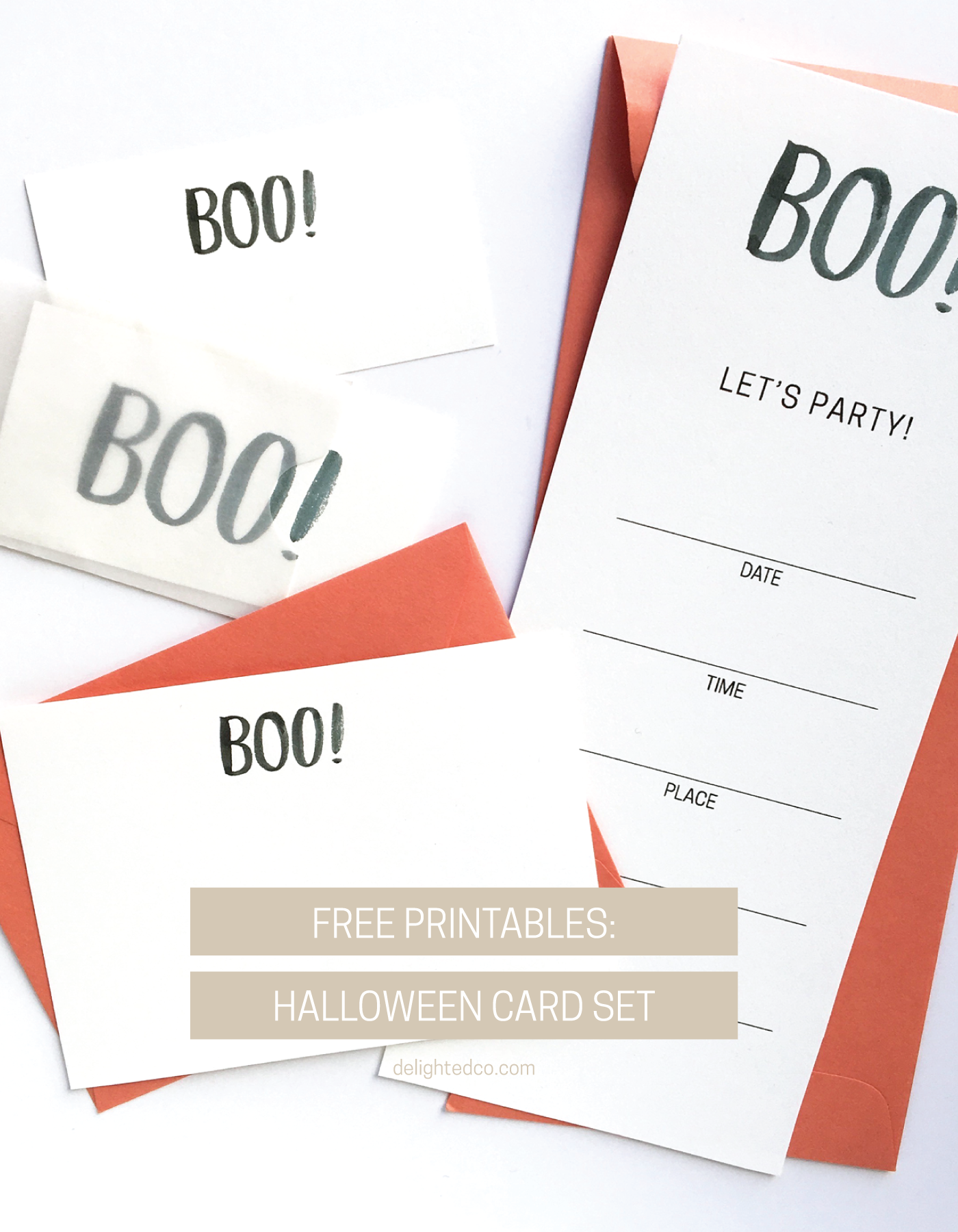 Free Halloween Printables: Cards + Invitation  |  Delighted Creative Co.