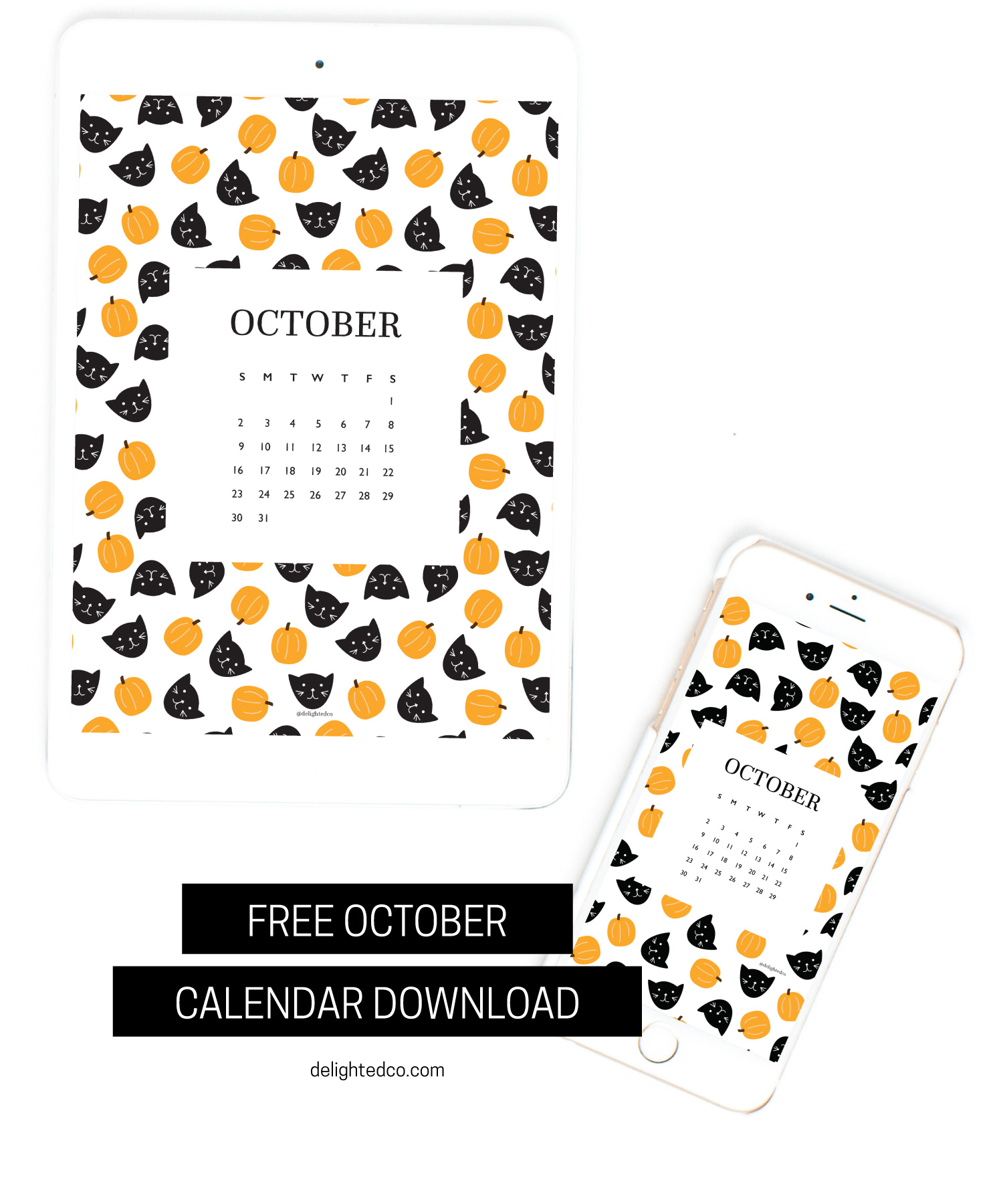 October Freebie: Download your October tech wallpaper calendars | delightedco.com