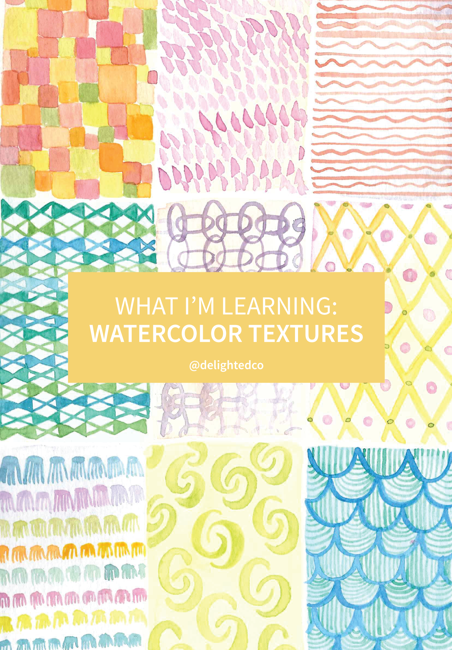 Learning to Create Watercolor Textures • These can be incorporated into future artwork and creating them in advance provides a great reference. Via Delighted Creative Co • delightedco.com