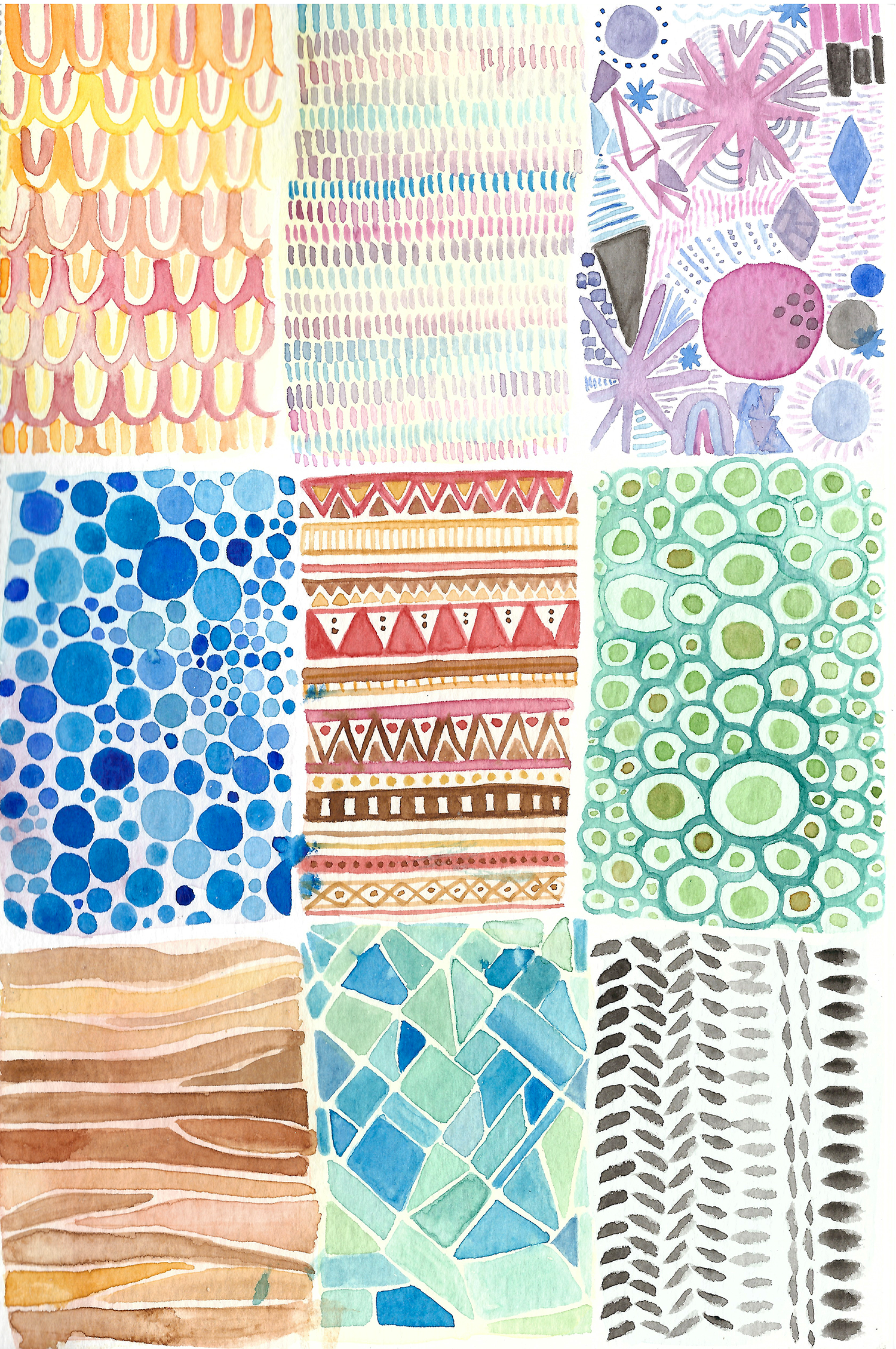 Learning to Create Watercolor Textures •These can be incorporated into future artwork and creating them in advance provides a great reference. Via Delighted Creative Co •delightedco.com