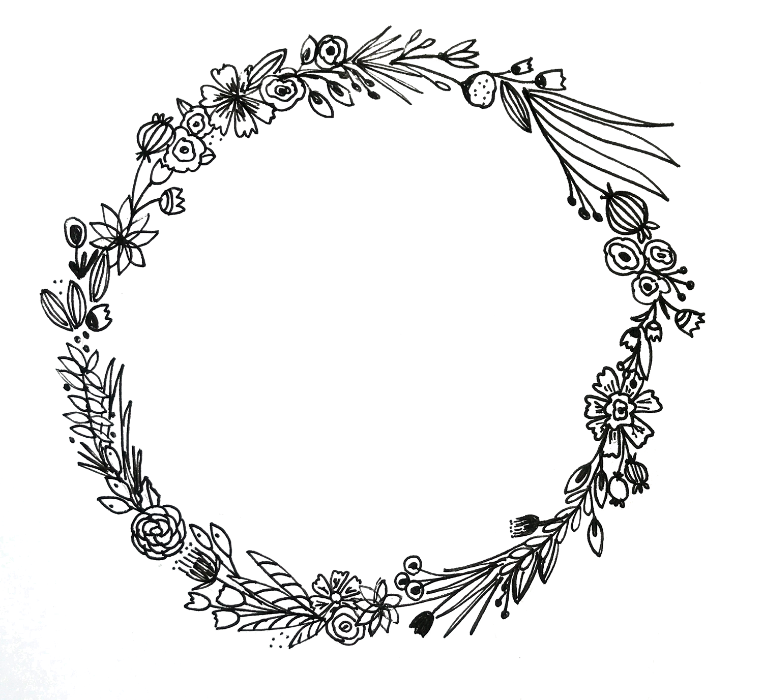 How to draw a floral wreath...super easy and fun! Via delightedco.com