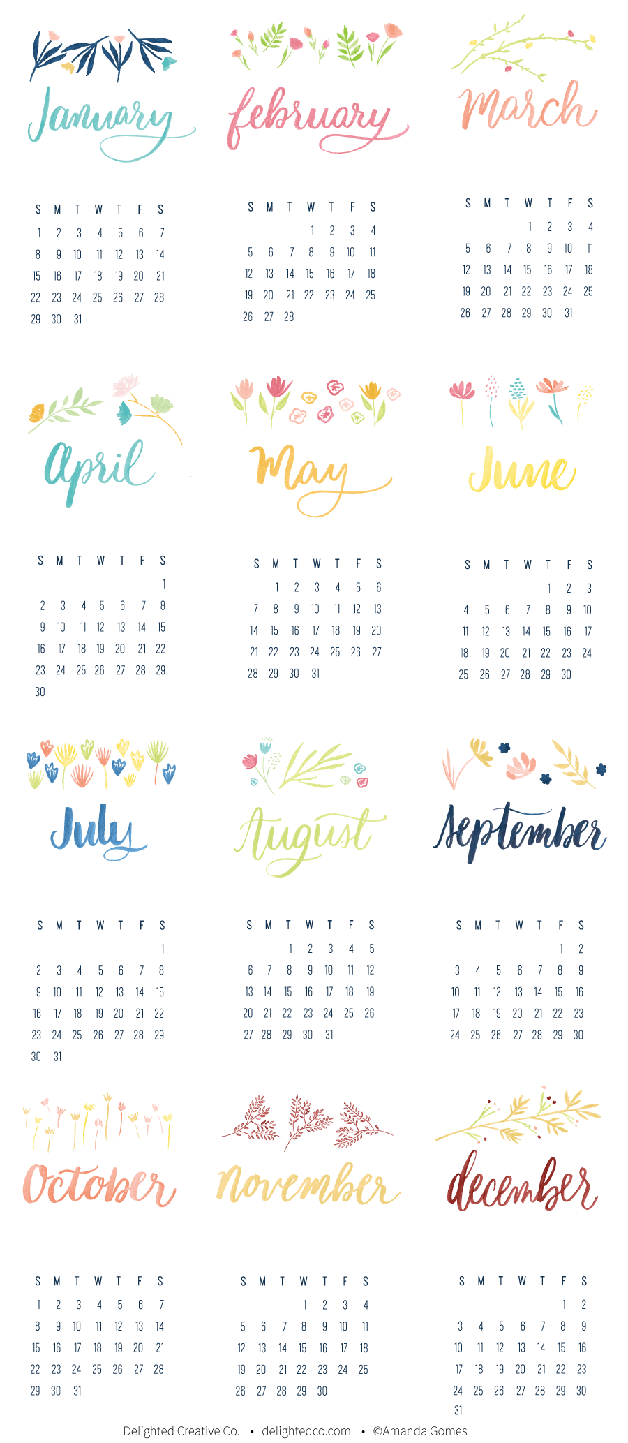 Free 2017 Calendar with Watercolor Florals. Download, print and enjoy! Via Delighted Creative Co  •  delightedco.com