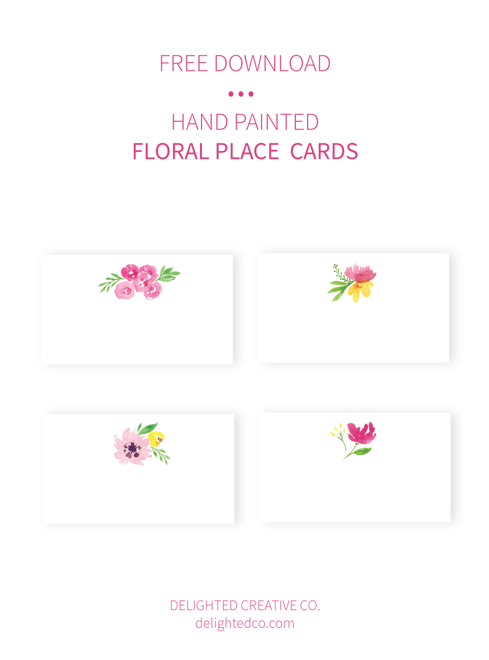 Free Watercolor Floral Place Cards • Delighted Creative Co.