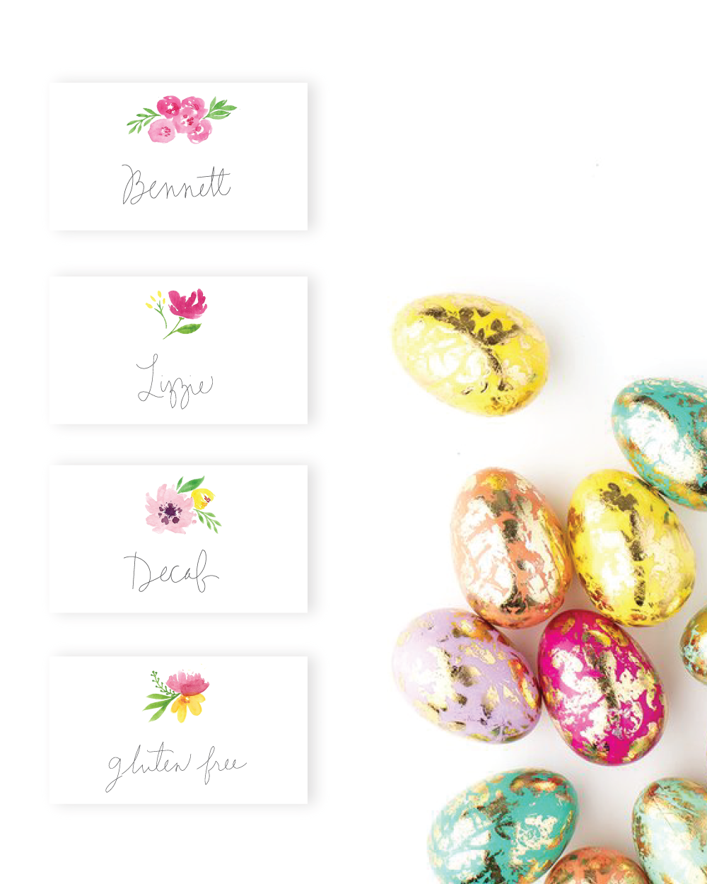 Free Download: Watercolor Floral Placecards for Easter (or Celebration!) • Delighted Creative Co. • delightedco.com