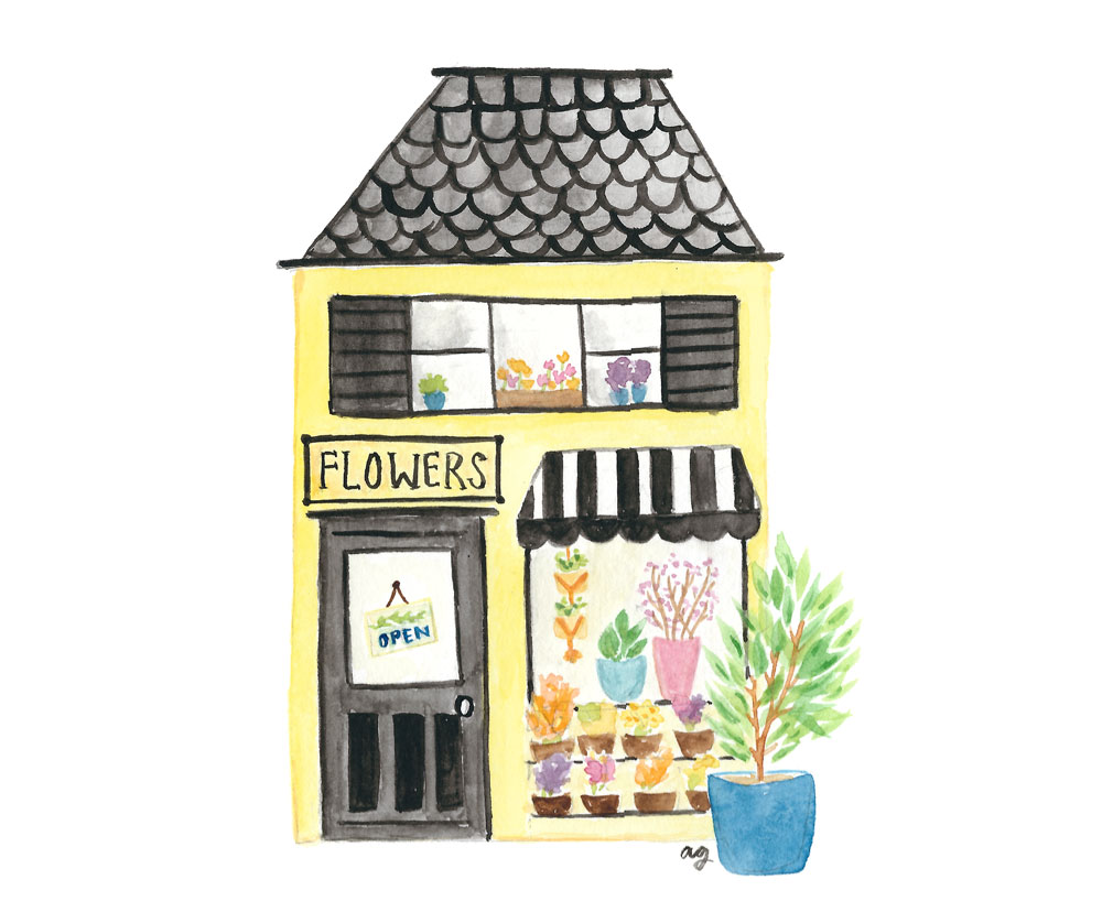 Flower Shop Illustration ©Amanda Gomes • Delighted Creative Co.