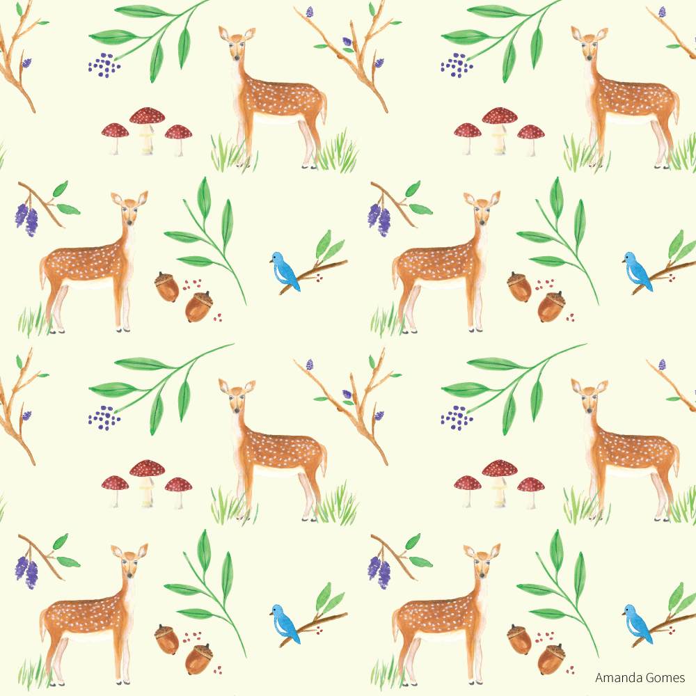 Deer • Surface Pattern ©Amanda Gomes • delightedco.com