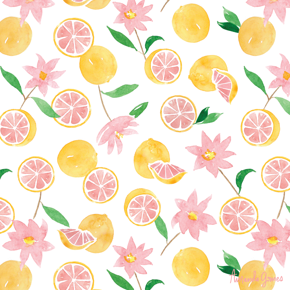 Grapefruit Florals • Surface Pattern ©Amanda Gomes • delightedco.com
