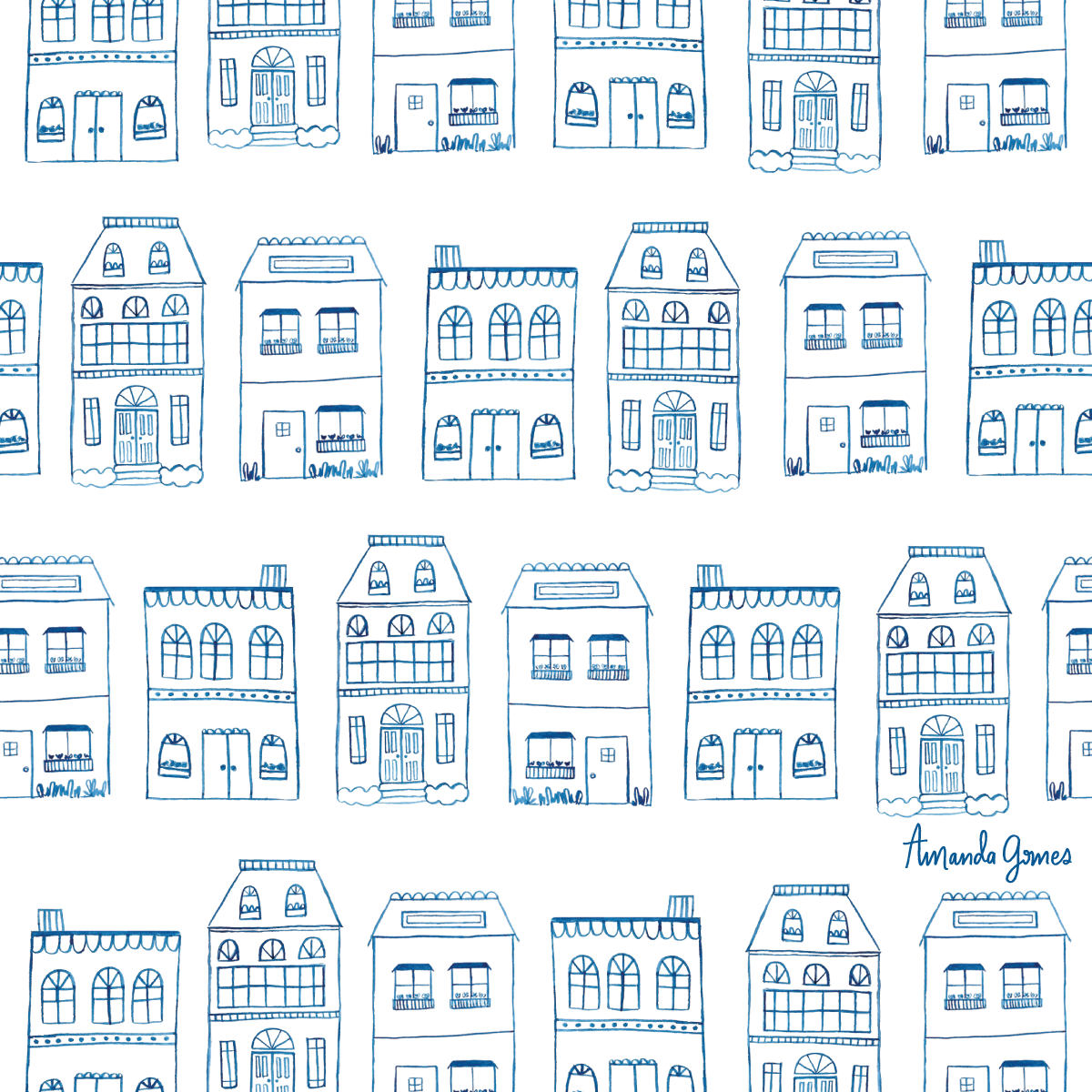 Watercolor Houses • Surface Pattern ©Amanda Gomes • delightedco.com