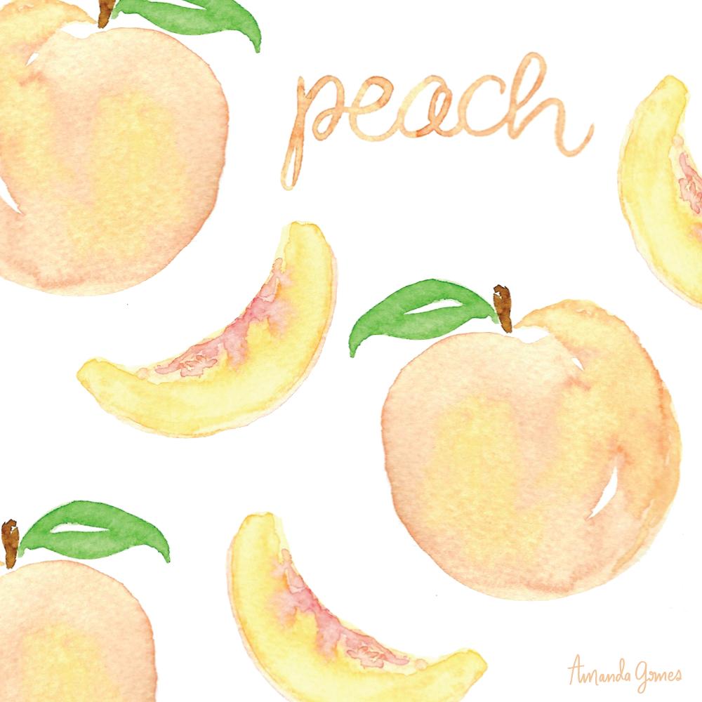 Peach lettering and illustration • ©Amanda Gomes • delightedco.com