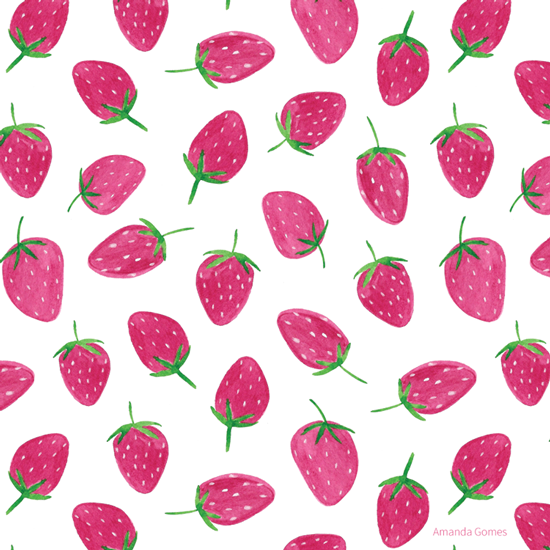 Strawberry Pattern ©Amanda Gomes • delightedco.com