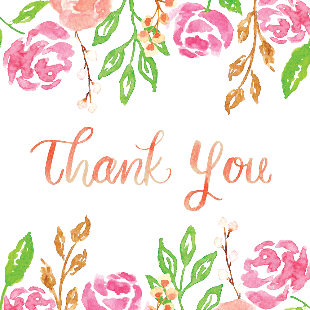 Watercolor Florals and Lettering Thank You by Amanda Gomes • delightedco.com
