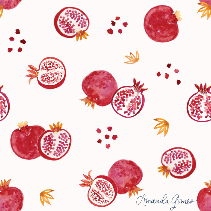 Pomegranate Pattern ©Amanda Gomes • delightedco.com