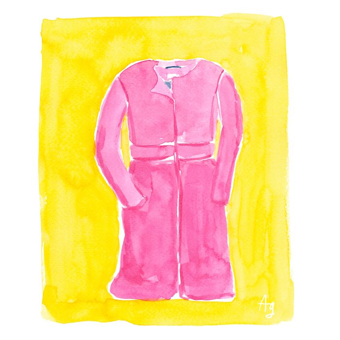 Copyright Amanda Gomes • watercolor pink coat illustration
