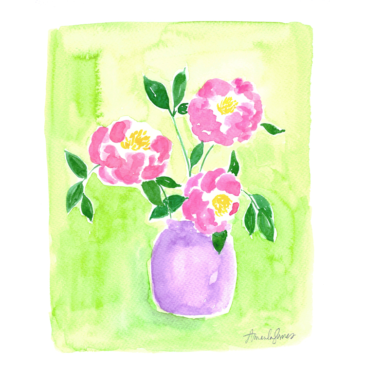 Copyright Amanda Gomes • watercolor camellia illustration