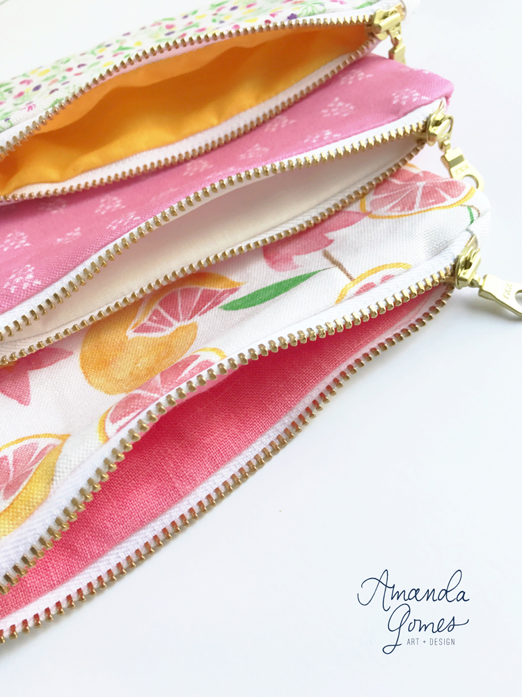 Zipper Pouches designed by Amanda Gomes • amandagomes.com
