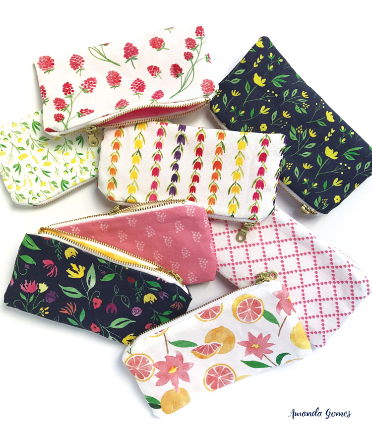 Fabric zipper pouches designed by Amanda Gomes • amandagomes.com