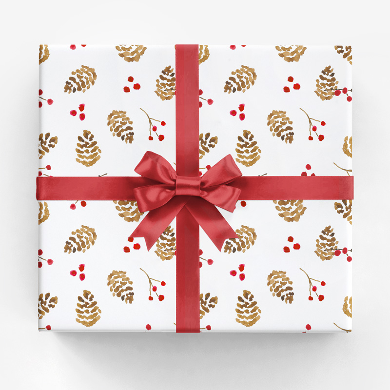 Holiday Pinecone + Berries Gift Wrap by Amanda Gomes • amandagomes.com