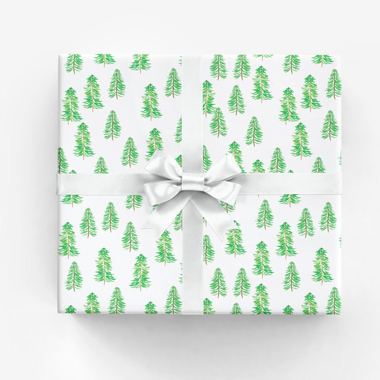Holiday Forest Gift Wrap • Watercolor Christmas Tree Pattern by Amanda Gomes • amandagomes.com