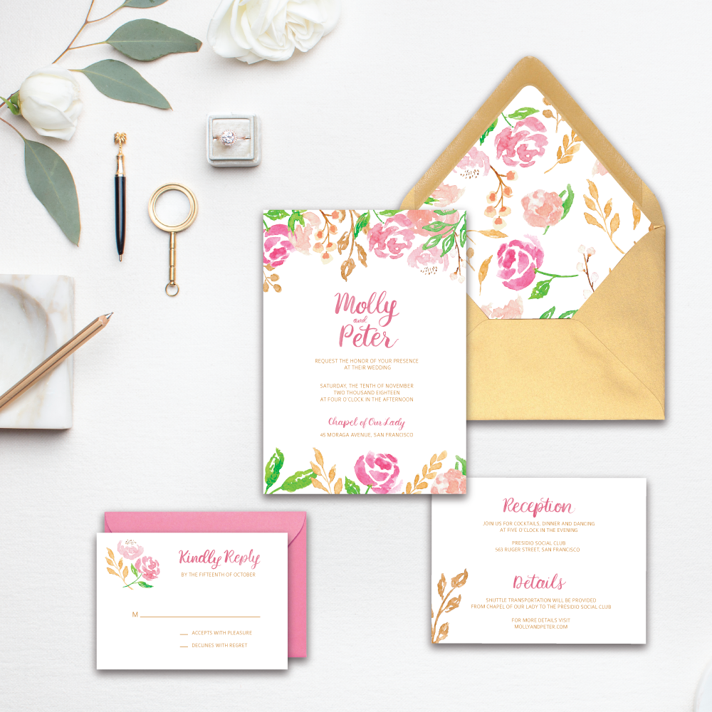 ©Amanda Gomes • Custom watercolor wedding invitation designed by Amanda Gomes • amandagomes.com