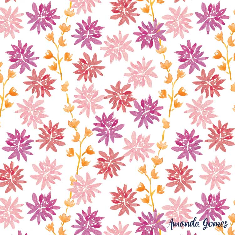 Watercolor Floral Pattern ©Amanda Gomes • surface designer + watercolor artist • amandagomes.com
