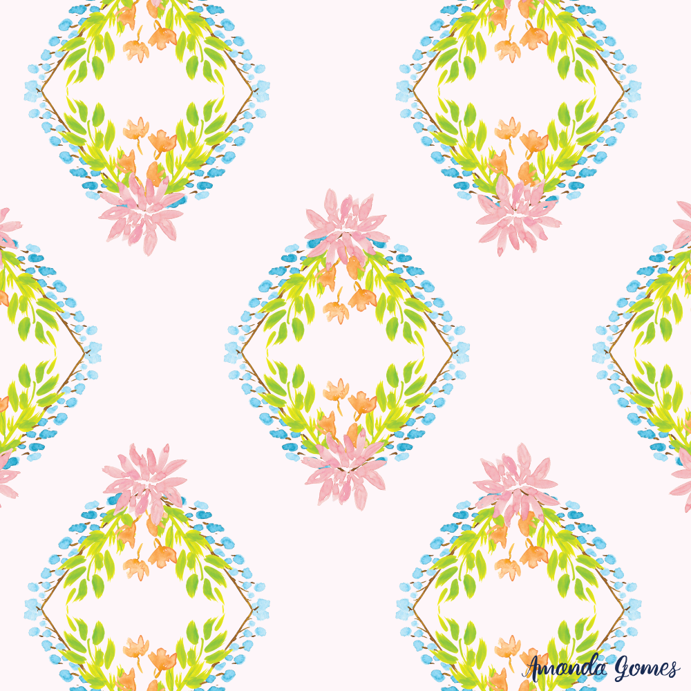 Watercolor Floral Diamond Pattern ©Amanda Gomes • surface designer + watercolor artist • amandagomes.com