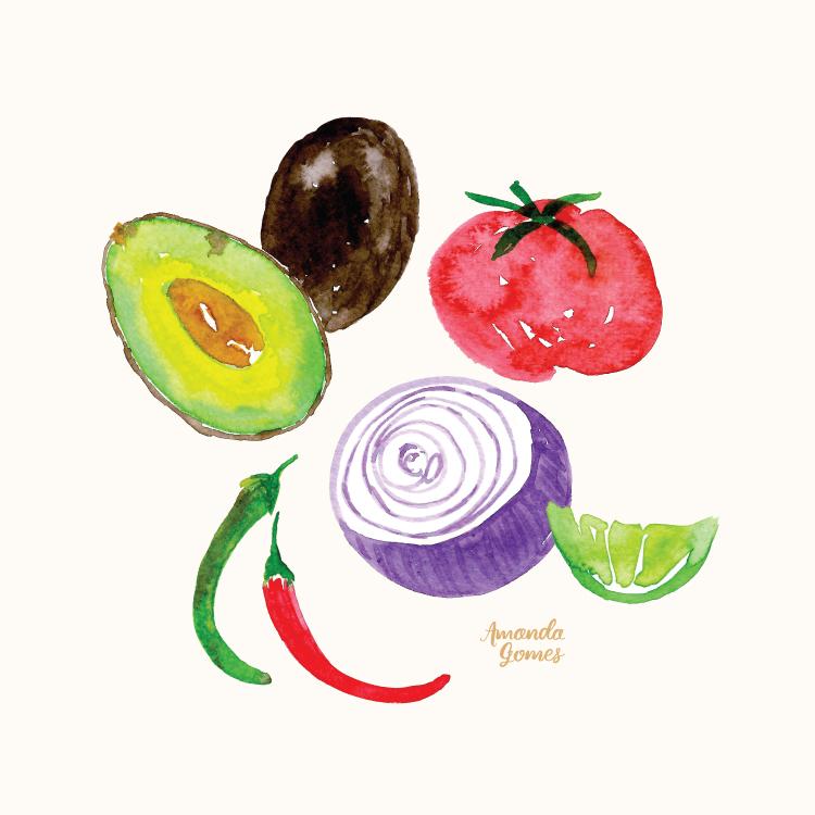 Amanda Gomes Watercolor Illustration •Guacamole Ingredients • amandagomes.com