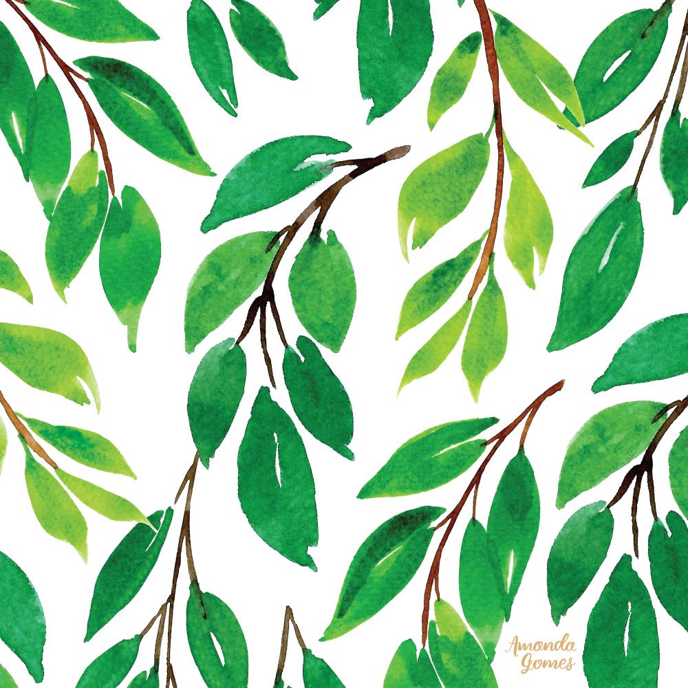 Amanda Gomes Watercolor Leaves Pattern • amandagomes.com