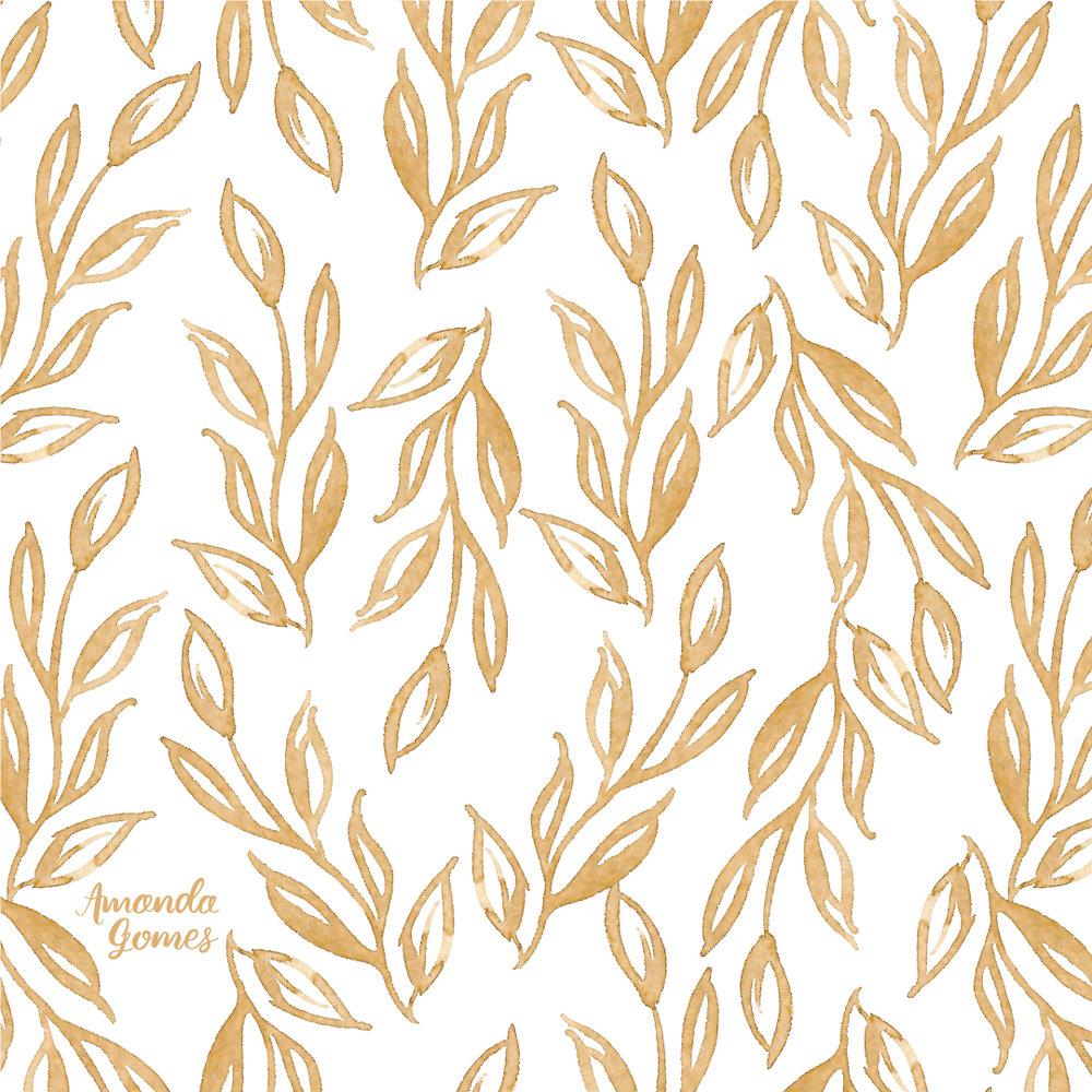 Amanda Gomes Floral Watercolor Pattern in Gold • amandagomes.com
