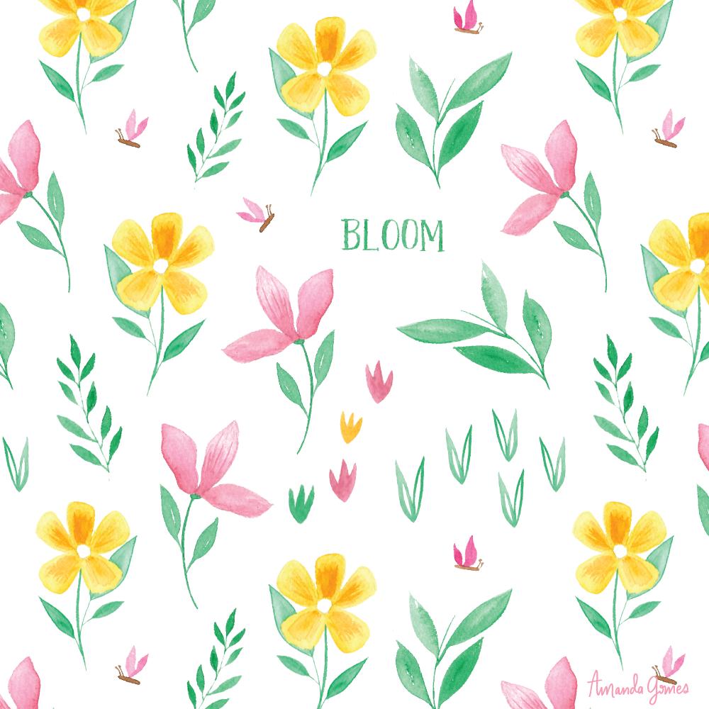 Watercolor Floral Surface Pattern Blooms Illustration • amandagomes.com