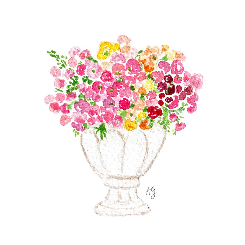 Watercolor Floral Ombre Bouquet • amandagomes.com