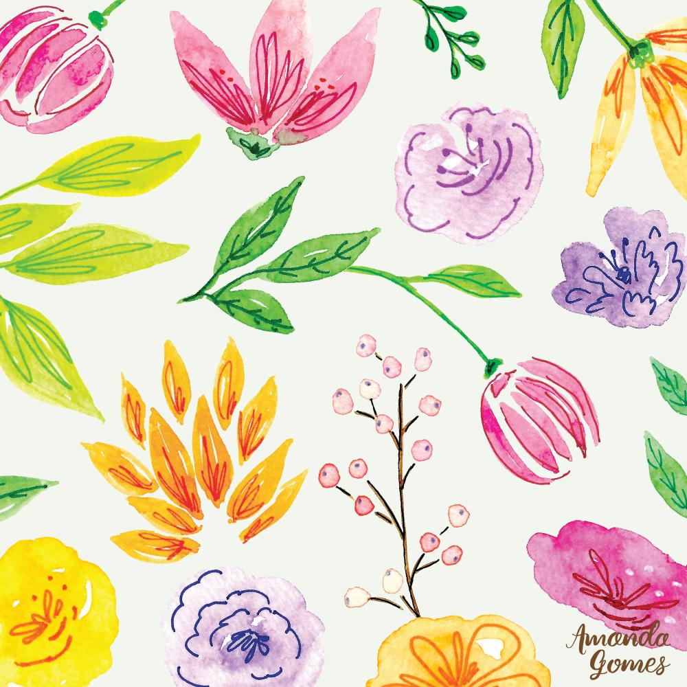 Amanda Gomes Watercolor Floral Surface Design Pattern • amandagomes.com