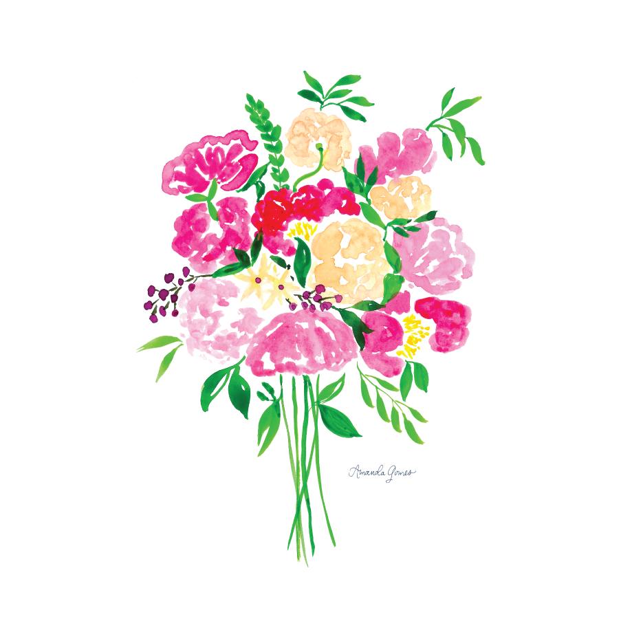 Watercolor Bouquet Illustration Painting by Amanda Gomes • amandagomes.com