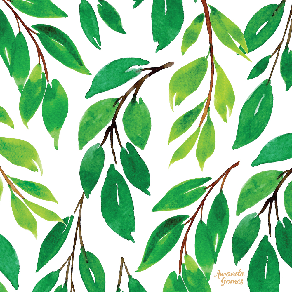Green Leaves Watercolor Pattern ©Amanda Gomes • amandagomes.com