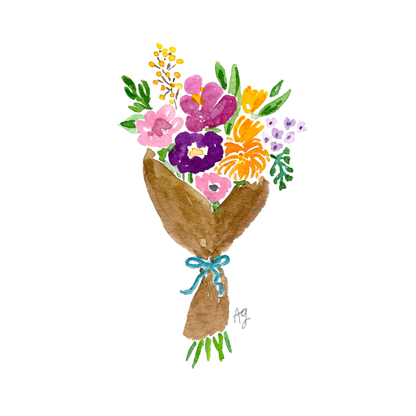 Watercolor Bouquet Arrangement Illustration by Amanda Gomes artist • amandagomes.com