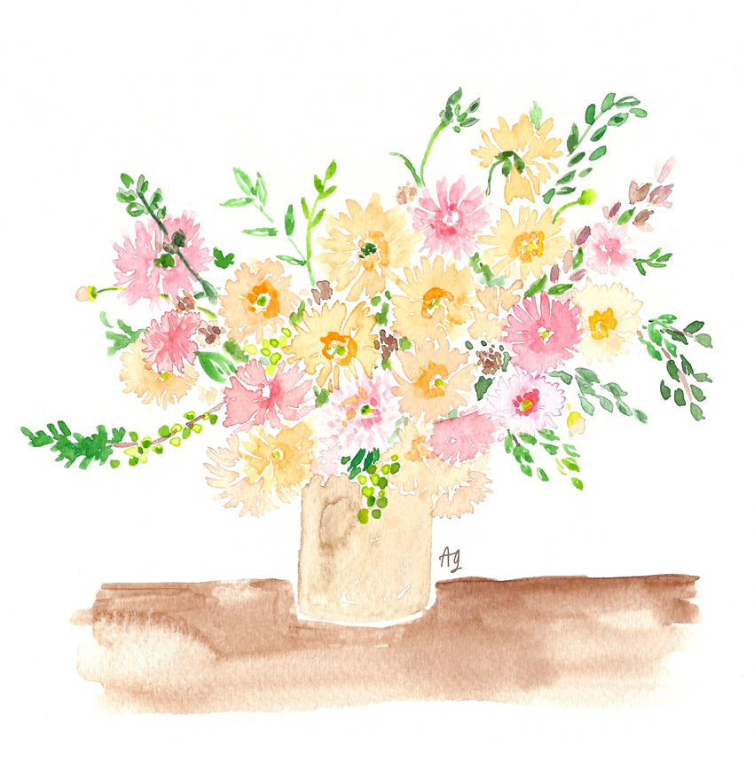 Watercolor Dahlia Bouquet Arrangement Illustration by Amanda Gomes artist • amandagomes.com