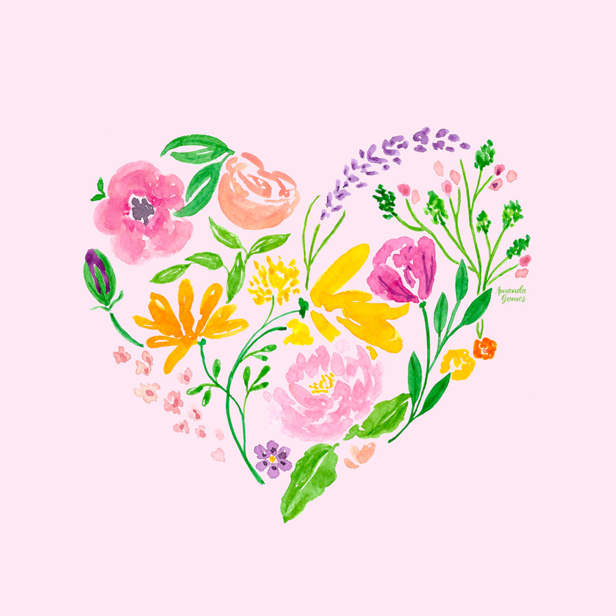 Watercolor Floral Heart Painting by Amanda Gomes • amandagomes.com